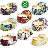 ZHANG Velas perfumadas, Paquete de 8 Velas de aromaterapia Velas caseras de Cera de Soja Natural Vela portátil perfumada para Mujeres Alivio del estrés Baño Yoga Birthd