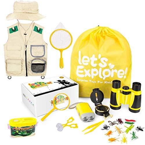 Binocolo per bambini, per attività all'aria aperta, con bussola, lente d'ingrandimento telescopica, set per esplorare bambini, giochi per bambini, giocattoli per bambini di età compresa tra 3 e 8 anni