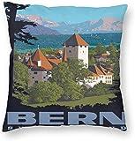Vintage Style World Travel Schweiz Bern Poster Kissenbezug