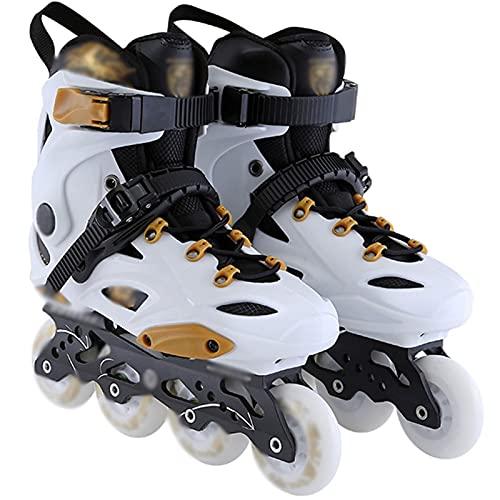 LTZ Inline-Skates für Jungen, Mädchen, Verstellbare Rollerblades-Schuhe mit Leuchtendem Radspaß für Kleinkinder, Kinder (Color : Weiß, Größe : US 7/EU 39)