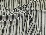 Leinen-Viskose-Mischgewebe, schwarze Streifen, Meterware