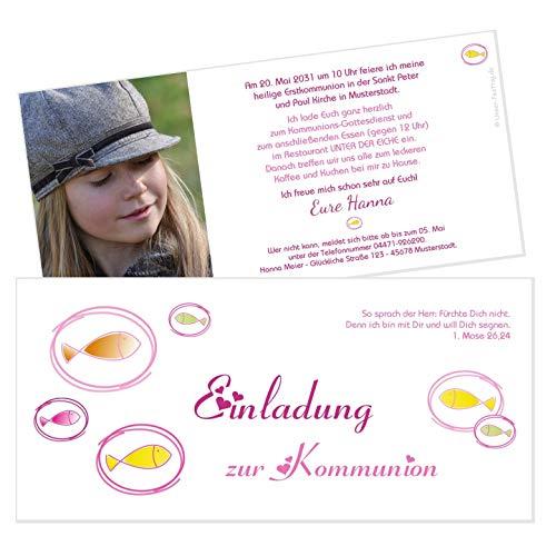 Unser-Festtag Fische Einladung Kommunion Schöne Einladungen für Kommunion katholisch edle für Mädchen - FOTO und Wunschtext - 10 Karten