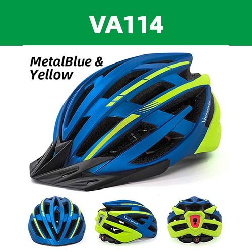 Fahrradhelme Mattschwarz Männer Frauen Fahrradhelm Hintergrundbeleuchtung MTB Mountain Road Bike Integral geformte Fahrradhelme -Blue Yellow USB LED-b5