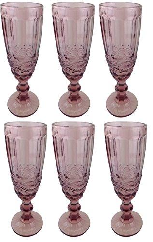 Champagneglas Vintage 6 Teile Set Schleife König Champagne Glas Gläser Weingläser Wasserglas Longdrinkglas (lila)