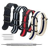 Bracelet de Montre 4 Paquet Bracelet Nato 16mm 18mm 20mm 22mm 24mm Bandes en Nylon...