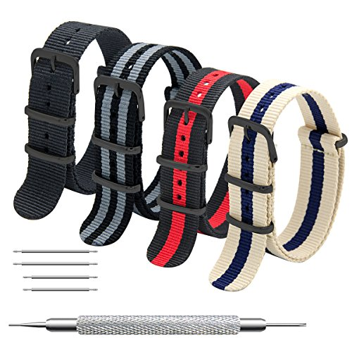 Cinturino Orologio 4 Pacchetti 16mm 18mm 20mm 22mm 24mm Balistico Cinturino Nato Cinturino in Nylon con Fibbia In Acciaio Inossidabile Nero