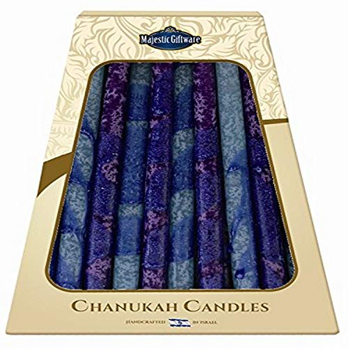 Majestic Giftware 45-Pack Safed Handcrafted Hanukkah Candles, 6 Inch, Blue/Purple (CP37)