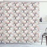 Lunarable Cortina de ducha japonesa patrón romántico con abstracto bonsai árboles primavera, tela de tela, juego de decoración de baño con ganchos, sello marrón vermilión y coco