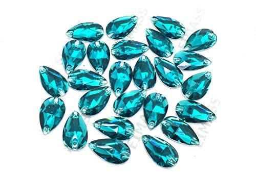 Eimass® Strasssteine/Glitzersteine, Tropfenform, zum Aufnähen- oder Aufkleben, flache Rückseite, für Kostüme,50Stück., Blauer Zirkonia, 11 x 18 mm