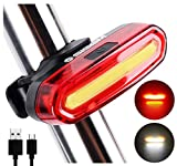 SIGEM Bike Tail Light, Headlight, Ultra Bright & USB Rechargeable, Bicycle Flashing Rear taillight, LED Safety Warning Strobe Head Light, Also for Helmet and Backpack 120 Lumens (Red-White)