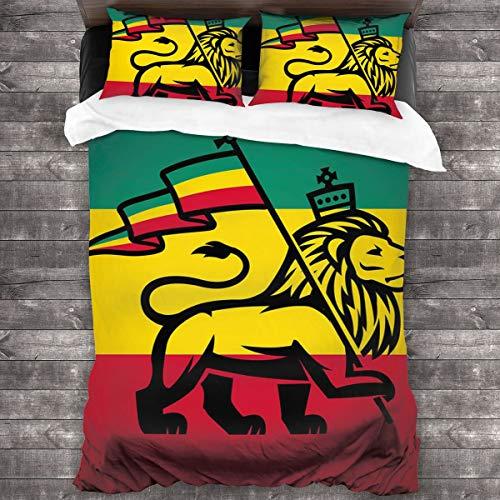 HARXISE Microfibra Juego de Cama Efectos 3 Piezas,Judah Lion con una Bandera Rastafari King Jungle Reggae Theme Art,1(140x200cm)+2(50x80cm)