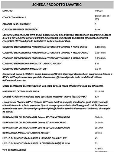 Indesit EWC 91083BS IT/1autonome Belastung Bevor 9kg 1000tr/min A + + + Waschmaschine–Waschmaschinen (autonome, bevor Belastung, , links, 62l, )