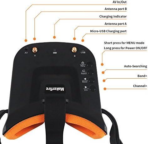 5.8Ghz Mini FPV Lunettes 3 Pouces 40CH FPV Vidéo Casque Lunettes avec Double RP-SMA Antenne et Sac à Main Batterie 1200mAh Intégrée pour FPV Racing Drone Quadcopters (Black)