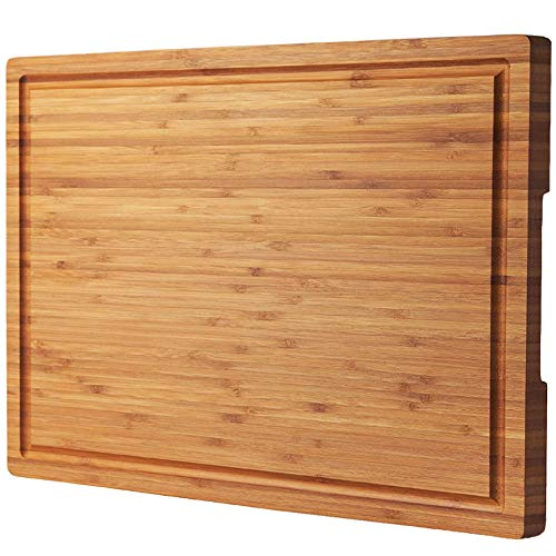 """Bamboo Wood Cutting Board for Kitchen, 18"""" Large Cheese Charcuterie Chopping Block with Side Handles and Juice Grooves"""