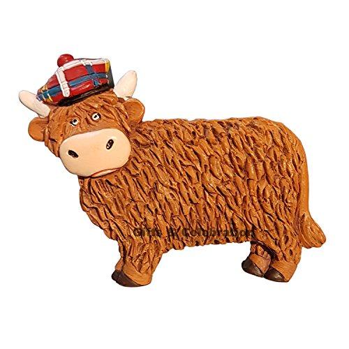 Escocia Imán para nevera–Highland Vaca con gorro, tartán Souvenir regalo