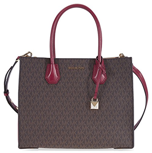 """Leather and signature PVC Dimensions: 12""""W x 10""""H x 5.40""""D Double-handle with strap drop of 5.25"""" Additional cross-body-strap with strap drop of 17"""""""