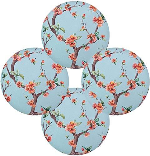 Yockco Wasserfarben-Vector Sakura runde Platzsets für Esstisch, Platzsets, 4 Stück, Tischsets für Zuhause, Küche, Urlaub, Dekoration
