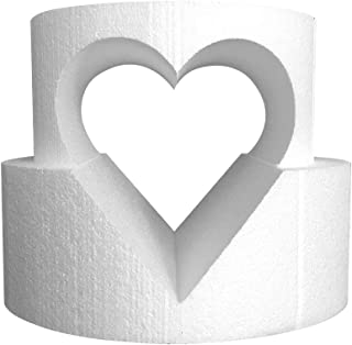 """Round Cake Dummy Set with Circle Cutout 8"""" x 4"""" top tier and 10"""" x 4"""" bottom tier with a 6"""" heart cutout"""