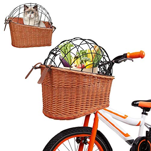 PHEMA Pet Bicycle Basket,Dog Bicycle Basket Bike Carrier, Rear Mount Willow Bicycle Basket Or Bicycle Basket Front,Hand Crafted Cage and Mounting Bracket Included, for Cats Dogs Up to 25lbs