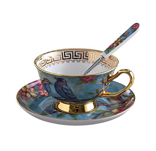 YBK Tech Euro Style Cup& Saucer Set Art Bone China Ceramic Tea Coffee Cup for Breakfast Home Kitchen- Birds and Trees Patterns (Blue)