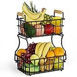VONLUNK 2-Tier Heavy Duty Countertop Fruit Basket, Detachable Fruit Bowl Display Stand, Bread Vegetables Basket, Kitchen Storage Organizer Holder, with wooden handle, Black