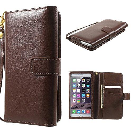 DFVmobile - Tasche Schutzhülle aus Innenrahmen Berührbaren aus Pferden Leder Mappen Kasten mit Kartenfächer für Allview W1 i - Braun