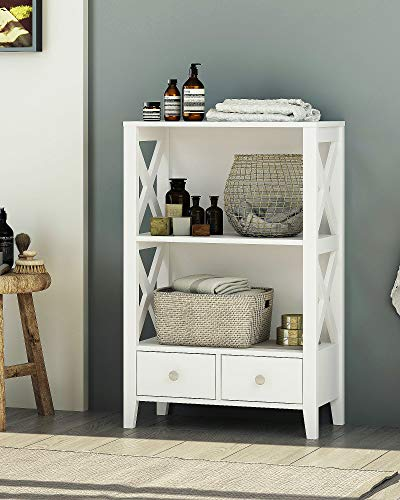 Spirich Home Modern X- Frame Freestanding Floor 3-Shelf Bathroom Storage Tower with Two Drawers, Free Standing Bathroom Storage Cabinets, Bathroom Floor Cabinet with Shelves, White