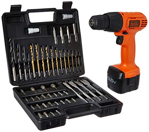 Black and Decker CD961K50 9.6 Volt Cordless Keyless Chuck Drill Driver Kit (Orange, 50 Accessories)