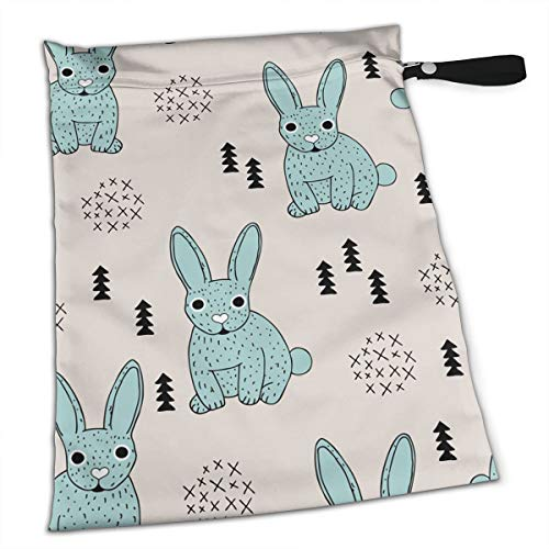 Great Deal! White Rice Waves Point to Bunny Easter Workout Laundry Reusable Wet Dry Separation Travel Beach Gym Tote Bags Dirty Clothes and Wet Wipe Holder for Diaper Packing Bag Pads Hanging Set