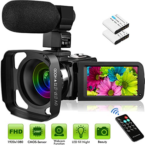"""Welcam Video Camera with Microphone Vlogging Camera Digital Camcorder FHD 1080P 36MP/30FPS, IR Night Vision, 16X Digital Zoom, 3.0"""" IPS Touch Screen Digital Camera Webcam for Video Chat YouTube Camera"""