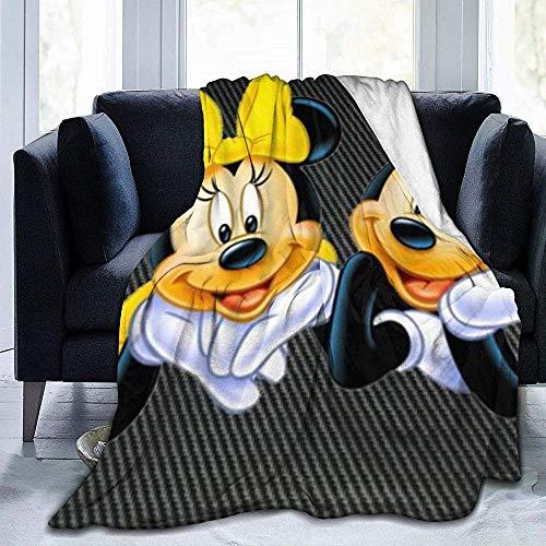 Biubiu-Shop Mickeys und Minnie Mouse Überwurfdecke Ultraweiche, Dicke Microplush-Bettdecke - Ganzjährig Premium Fluffy Microfaser Fleeceüberwurf für Sofa Couchüberwurf 50 x 40 Zoll