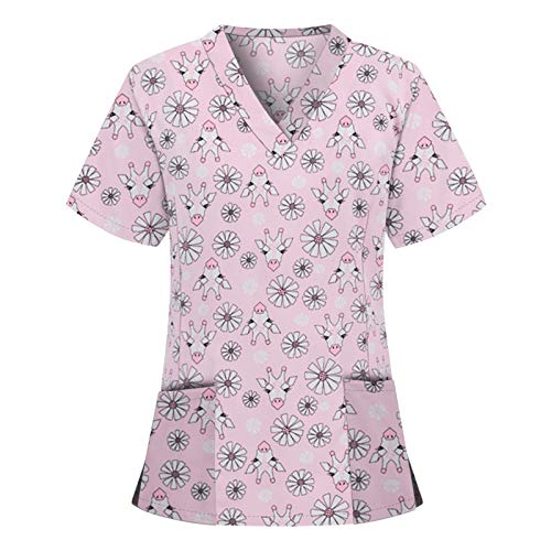 Tops Working Uniforms Nursing Womens Workwear V-Neck Scrub Hospital Suit Lab Nurse Blouses Solid Color Animal Print Casual Short Sleeve Shirts T-Shirts (I-Pink, S)