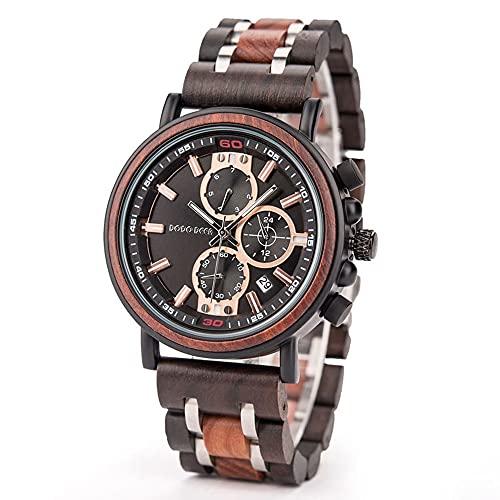 yuyan Reloj Deportivo for Hombres Diseñador de sándalo Rojo Hecho a Mano Movimiento de Cuarzo japonés de Lujo, Saludable y Respetuoso con el Medio Ambiente Reloj de Las señoras