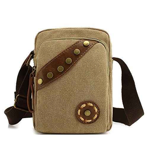 MiCoolker Retro Canvas Rivet Bag Casual Shoulder Messenger Bag Work Pack Outdoor Travel Wild Bag for Women Khaki