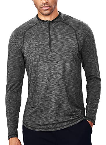 Mens 1/4 Zip Pullover(XL,Black & Grey)