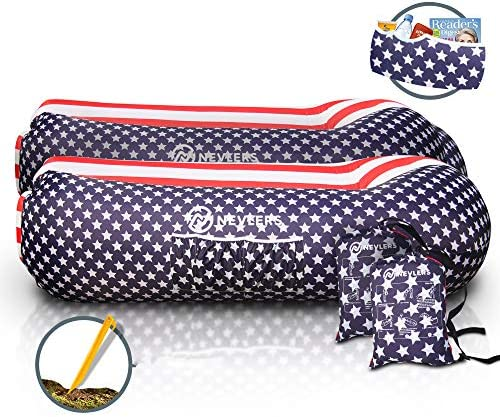 Nevlers 2 Pack Inflatable Loungers with Side Pockets Matching Travel Bag American Flag Design product image