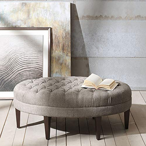 Madison Park Martin Oval Surfboard Tufted Ottoman Large - Soft Fabric, All Foam, Wood Frame Light Grey Oval Coffee Table Ottoman - 1 Piece Modern Design Coffee Table for Living Room