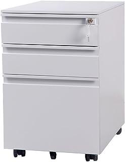(OSJ)オフィスワゴン サイドワゴン 3段オールロック 幅390×奥行450×高さ600mm スチール製 ペントレー シリンダー錠 完全完成品 組立て不要 (ホワイト)