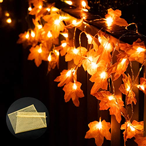 Greatfine Halloween String Lights,20 LED&6.6Ft Maple Leaf Fairy Light,3 Modes Holiday Warm Lights Decor for Halloween Thanksgivings,Home Indoor Outdoor Decorations,Battery Operated