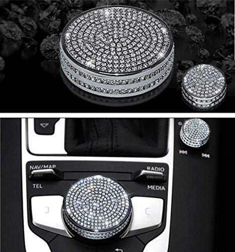 HAILWH Bling Accessories for Audi A3 Q2 S3 2014-2018 Central Multimedia Knob Rhinestone Crystal Applique Cover (Multimedia knob Cover 2 Pieces / Set)