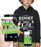 PIXEL EVOLUTION Sweat à Capuche 3D Rugby Paris en Réalité Augmentée Enfant - Taille 12 Ans - Noir