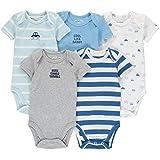 Wan-A-Beez 5Pack bebé de niñas y niños recién Nacidos y Lactantes Algodón Manga Corta Bodies