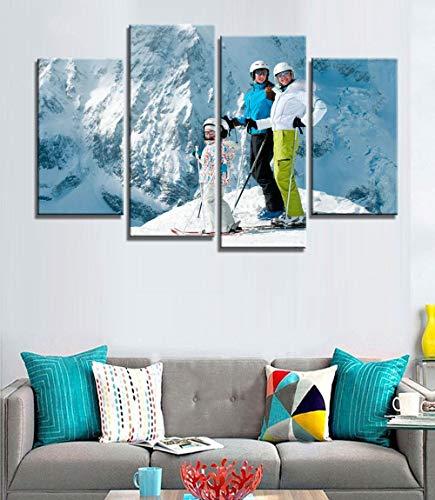 ANTAIBM® 4 Leinwandmalerei HD-Druck Holzrahmen - verschiedene Größen - verschiedene Stile4 Stück Mode Leinwand Drucke Alpine Skifahren Malerei Wandkunst Home Decoration Poster Leinwand