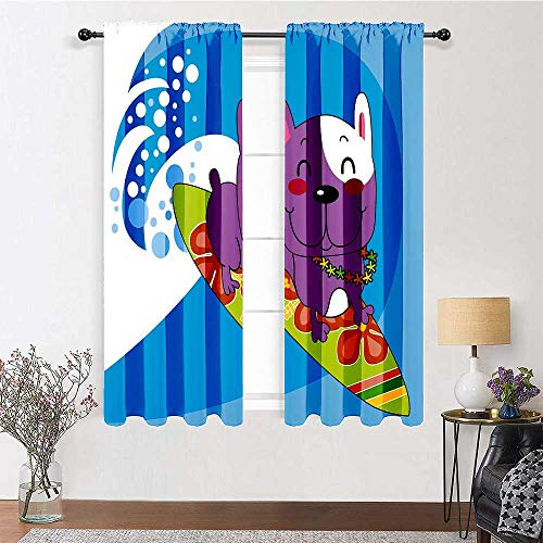 Interestlee Window Curtains Ride The Wave Energy Saving Makes Room Cool Cute French Bulldog Surfing and Smiling Happy Adventure Exotic Dog Cartoon 2 Panels 72' x 63' Multicolor