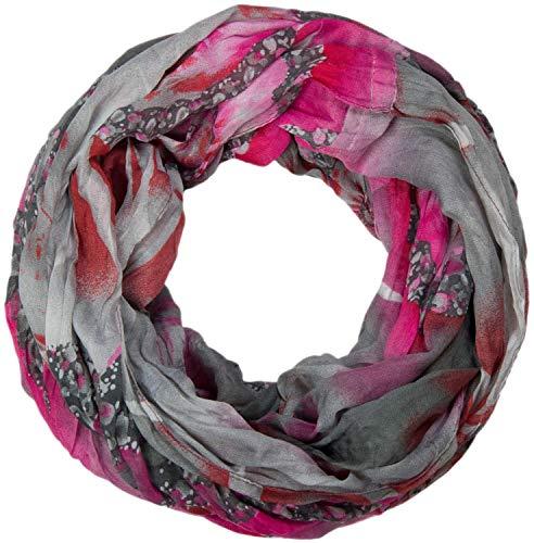 styleBREAKER Damen Loop Schlauchschal mit maritimen Muschelmuster, Crash and Crinkle, Schal, Tuch 01018023, Farbe:Grau-Pink-Braun