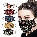 Masrin Mund- und Nasenschutz - 5PC Mundschutz mit Weihnachtsmotiven für Erwachsene - Waschbarer wiederverwendbarer winddichter Außenschutz (G)