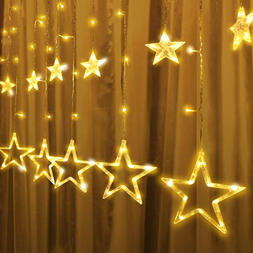 2Packs 12Stars 138LED Window Curtain String Lights Fairy Lights 8 Flashing Modes Decoration Remote Control for Christmas Home Holiday Festival Party Wedding Bedroom Indoor Outdoor Decor (Warm White) 7