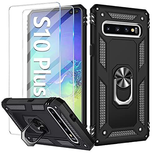 Vanki S10 Plus Handyhülle für Samsung Galaxy S10 Plus Hülle mit Panzerglas, [2021 Upgraded] Outdoor Stoßfest Schutzhülle, für Samsung S10 Plus Hülle Hülle [Magnetisch] [Ring Halterung] Bumper Hüllen