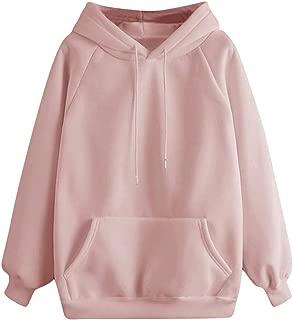 Women Solid Hooded Sweatshirt Long Sleeve Hoodie Sweatshirt Hooded Pullover Tops Blouse with Pocket