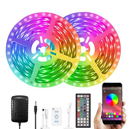 GUSODOR Tiras LED 10M Música Tiras de Luces 5050 RGB LED Strip Bluetooth LED Iluminación Control de APP y de Control Remoto para l hogar, dormitorio, TV, cocina, escritorio, decoración de bar